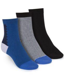 middelhoge sokken 3-pack gestreept&effen