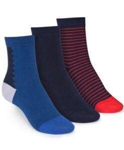 middelhoge sokken 3-pack gestreept&effen blauw