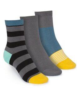 middelhoge sokken 3-pack gestreept&effen grijs&blauw
