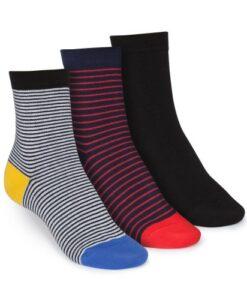 middelhoge sokken 3-pack gestreept&zwart